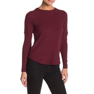 Sweet Romeo Burgundy Cozy Thermal Pullover Top